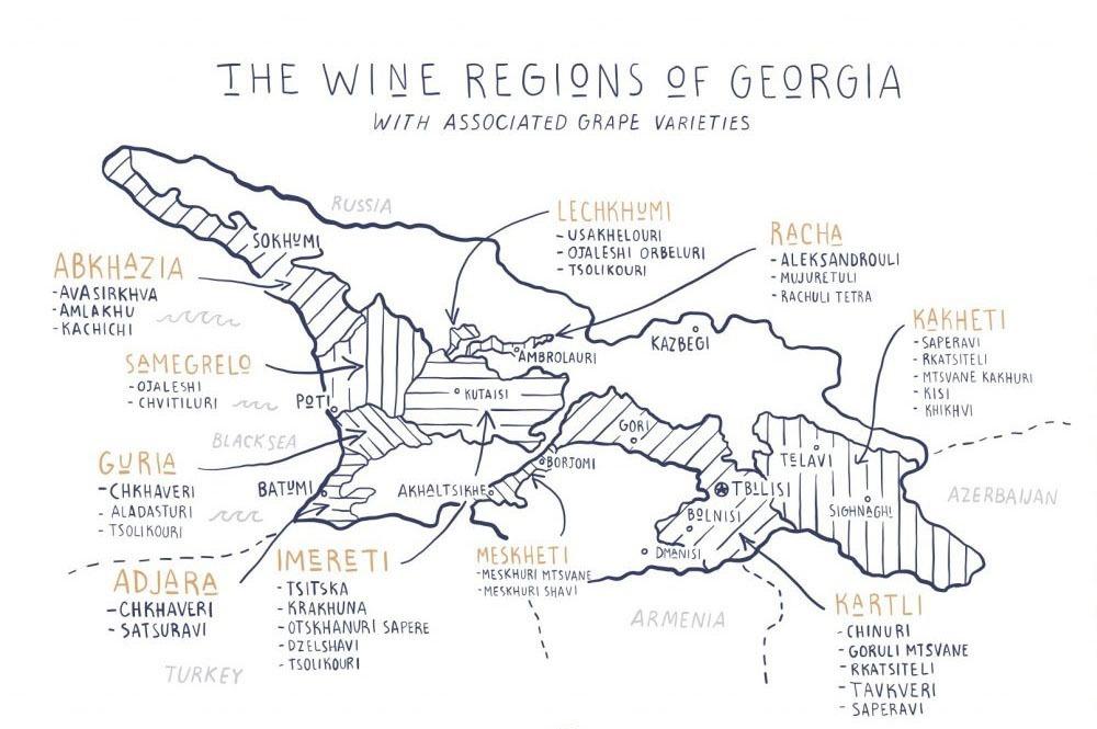 Weinregionen Georgien Karte