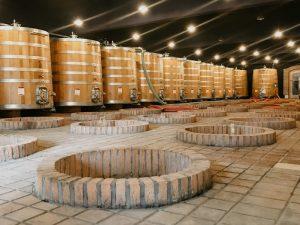 Qvevri und Stahltanks in georgischem Weinkeller